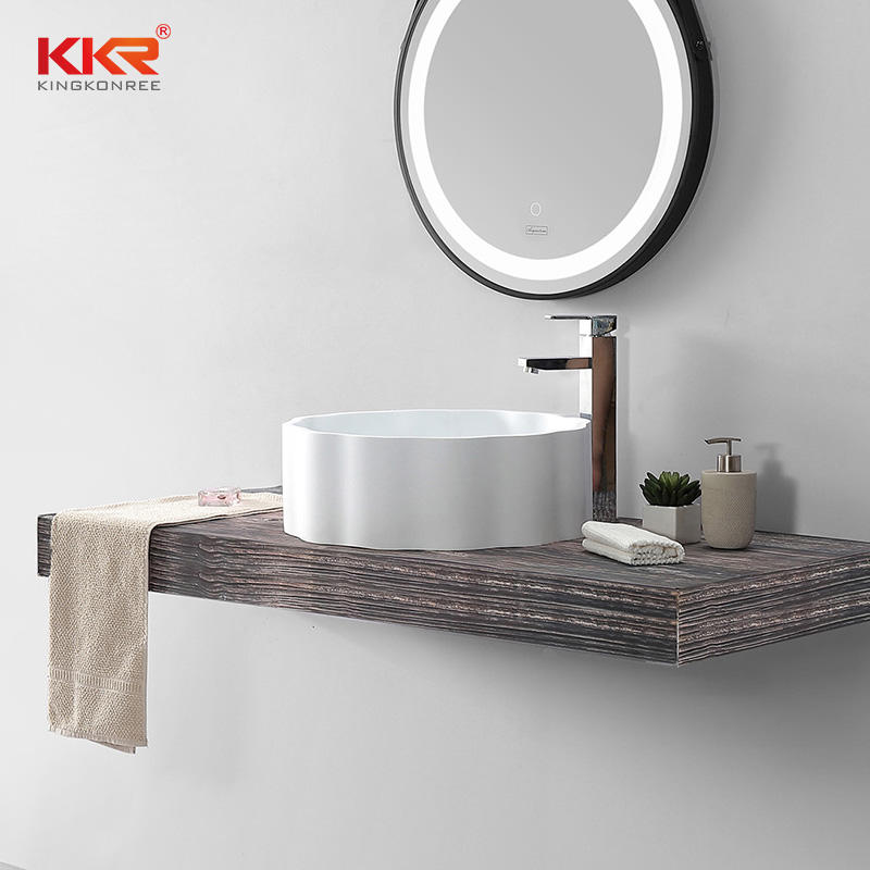 Unique Design Custom White Artificial Marble Bathroom Sink Wash Basin
