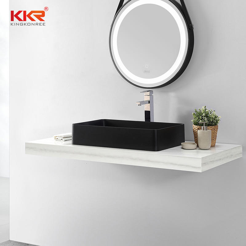 High-end Black Color Bathroom Hand Wash Basin Artificial Stone Quartz Sink KKR-QS2314