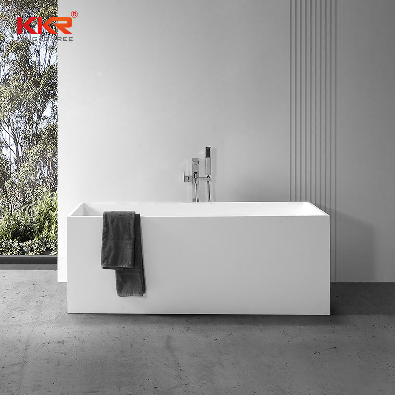 Rectangle Modern Design Artificial Stone Solid Surface Bathtub KKR-B029
