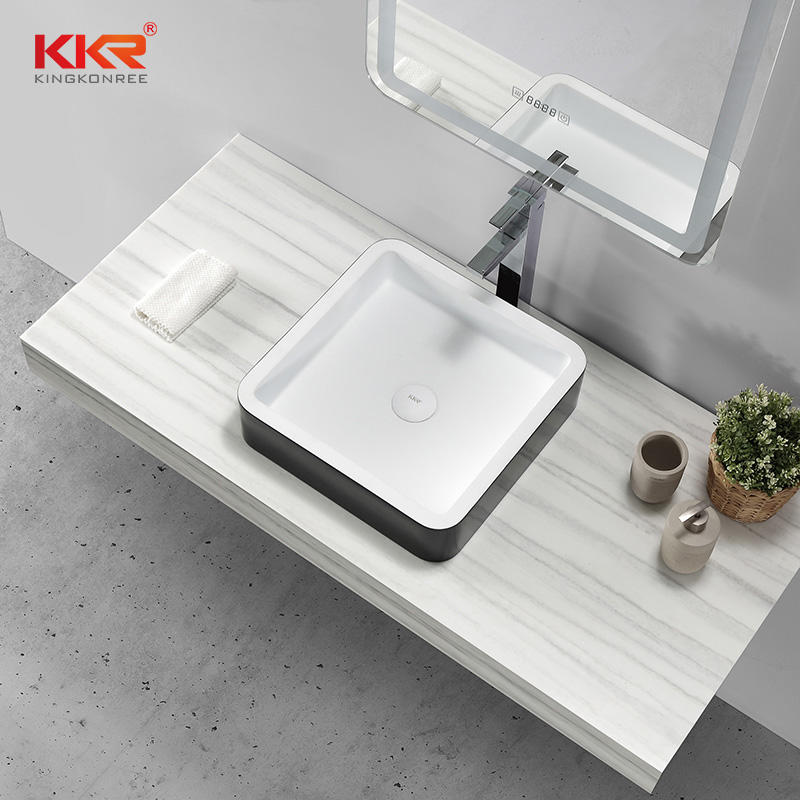Square Black Outside White Inside Above Counter Wash Basin