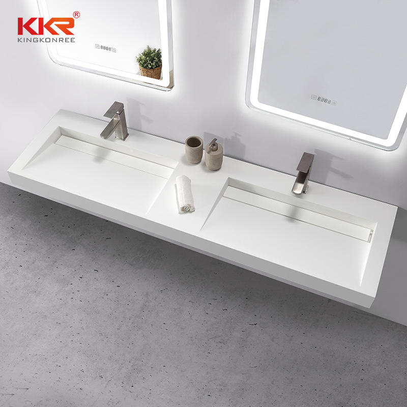 European-style Customized Size Bathroom Double Basins Stone Bathroom Sink
