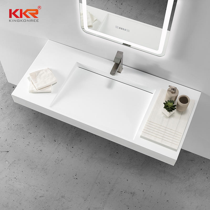 White Solid Surface Artificial Stone Wall Hung Cabinet Basin Wash Basin