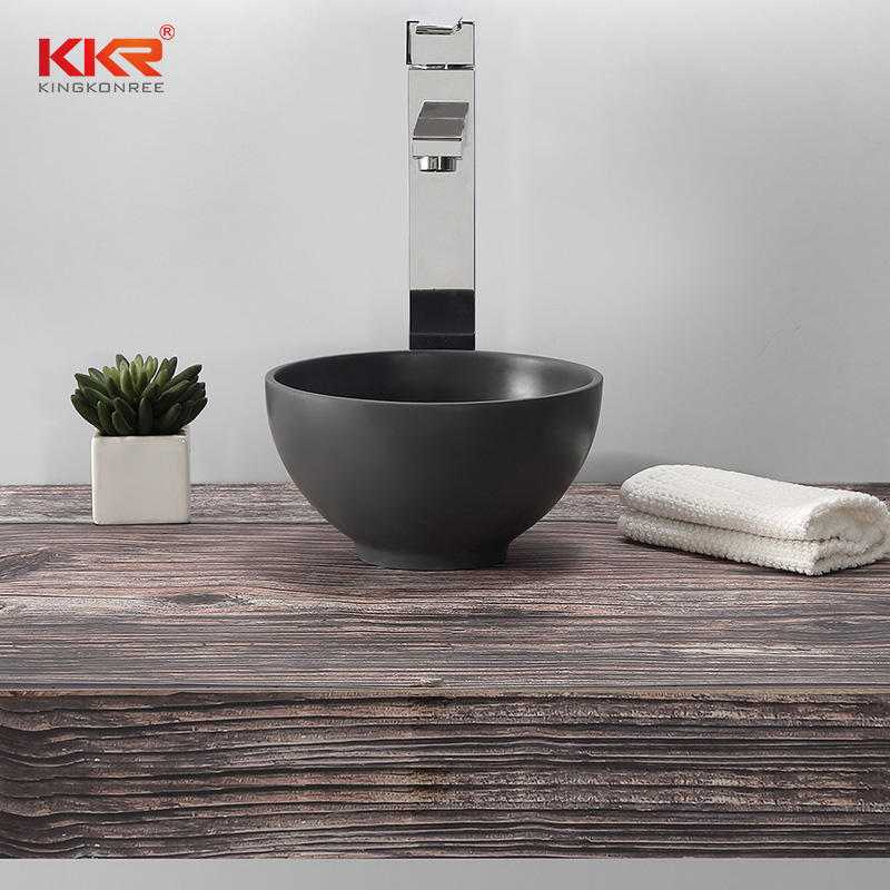 Round Small Size Black Solid Surface Wash Basin Above Counter Bathroom Sink