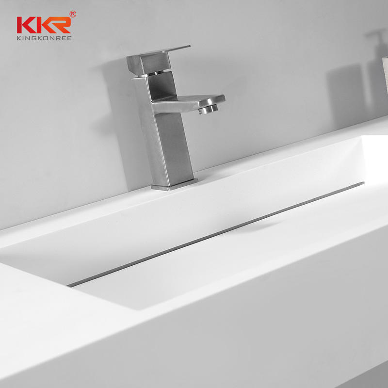 Modern Slope Design Solid Surface Rectangular Wall Hung Basin