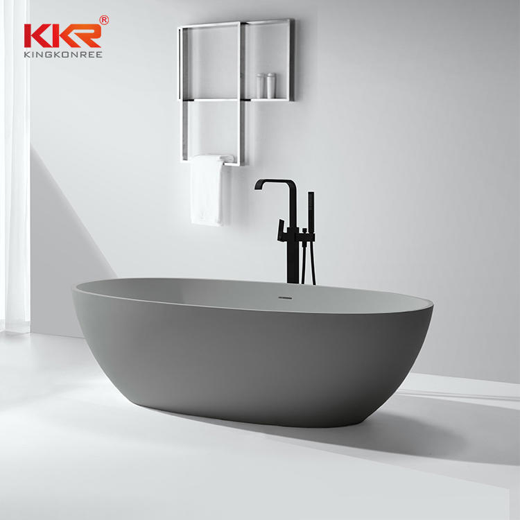 Gray Artificial Stone Solid Surface Freestanding Soaking Bathtub KKR-B003