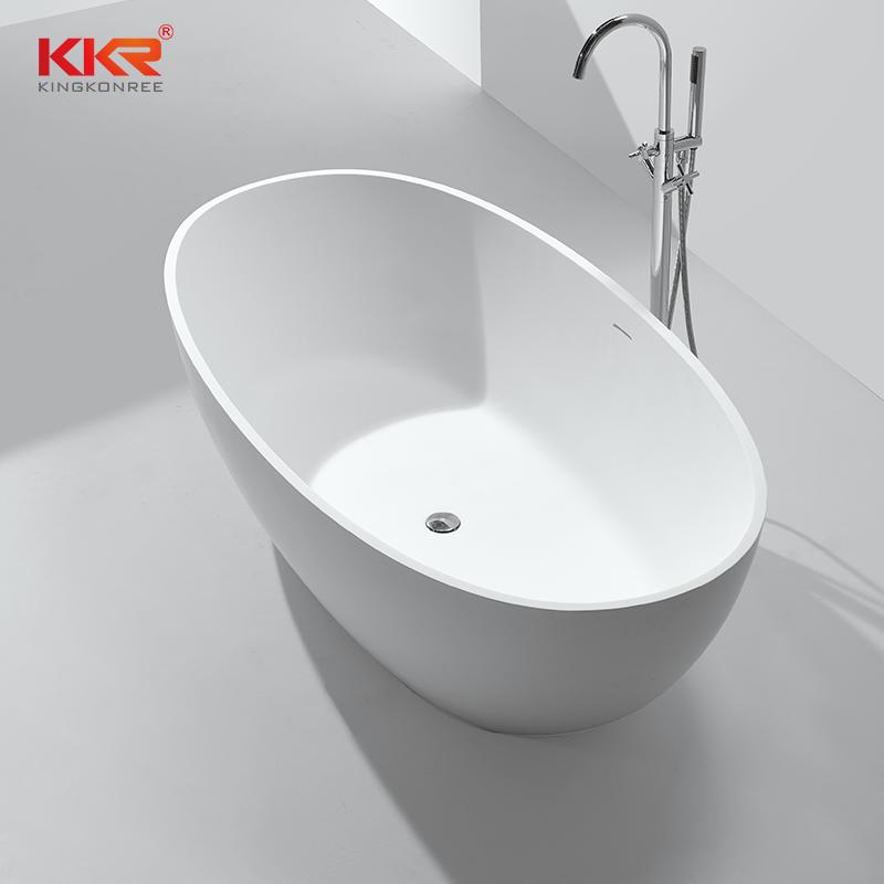 Gray Artificial Stone Solid Surface Freestanding Soaking Bathtub KKR-B003