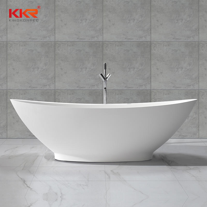 Bathroom Furniture Solid Surface Stone Freestanding Grey Bathtub KKR-B051