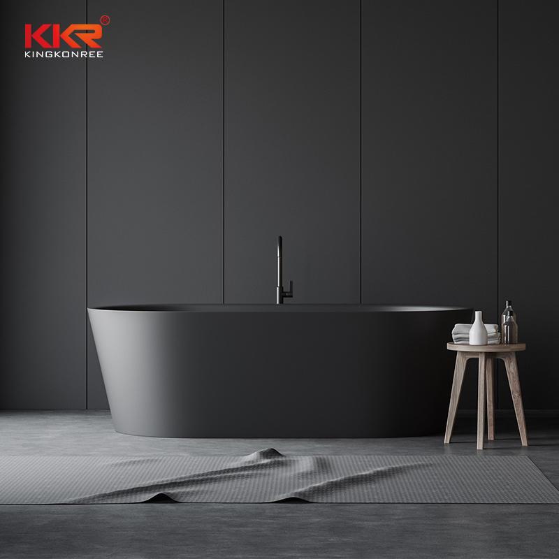 Custmized Modern Design Gray Solid Surface Bathtub KKR-B037
