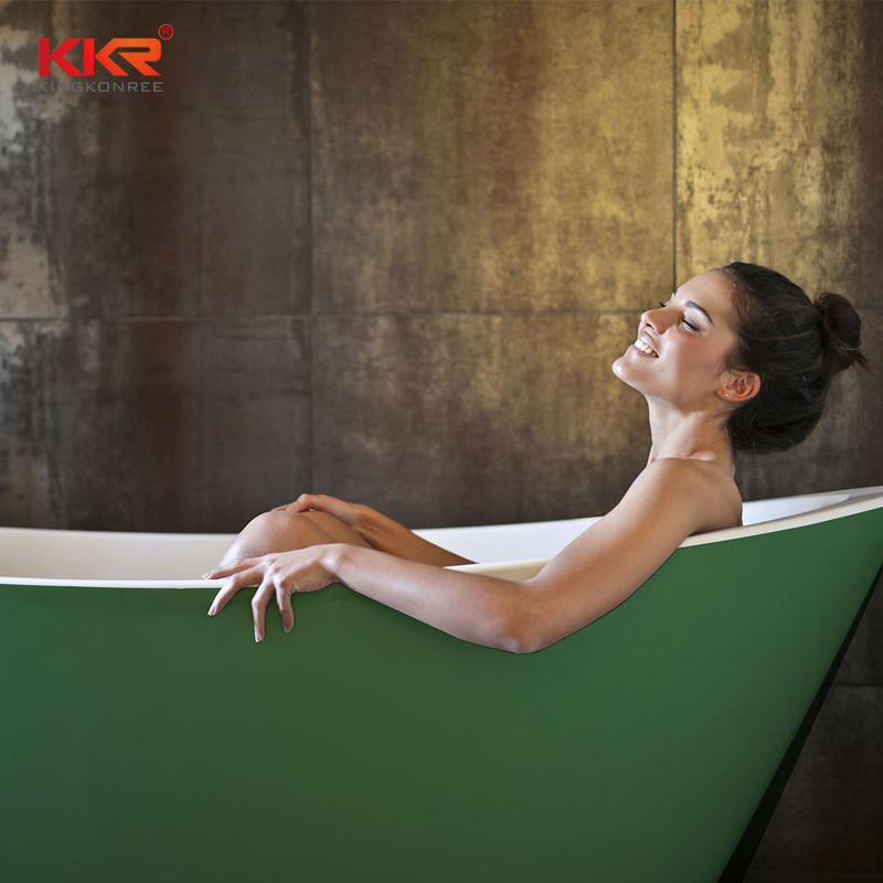 Durable And Easy Clean Solid Surface Freestanding Gray Bathtub KKR-B034
