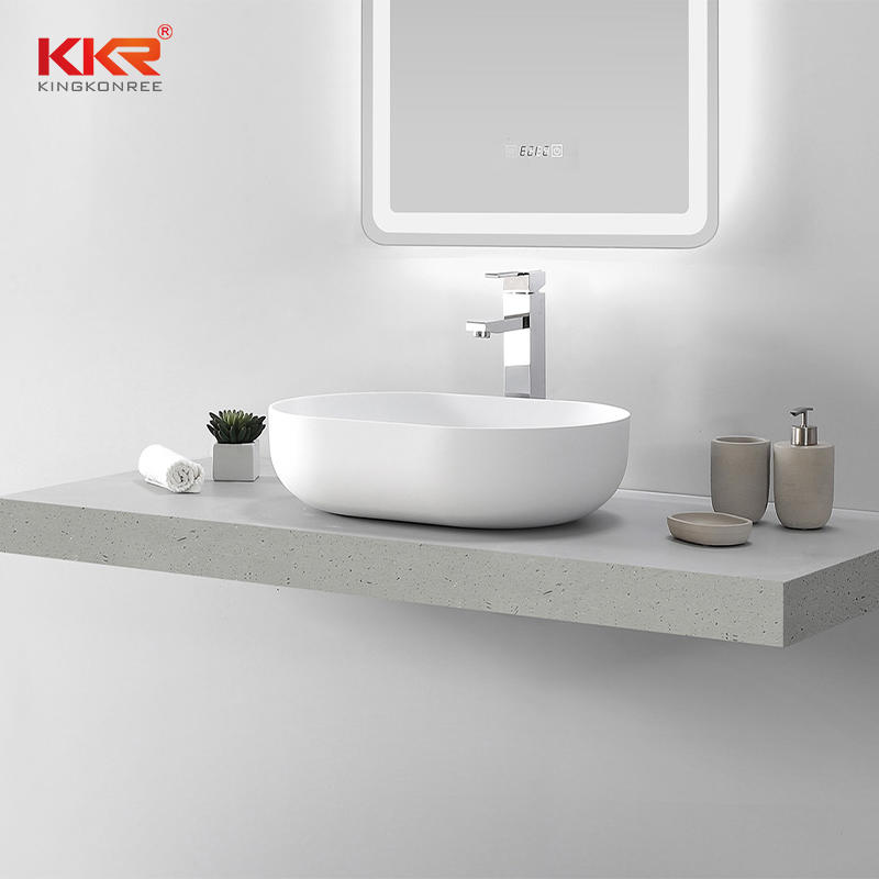 Thin Edge Artificial Marble Acrylic Solid Surface Abover Counter Wash Basin