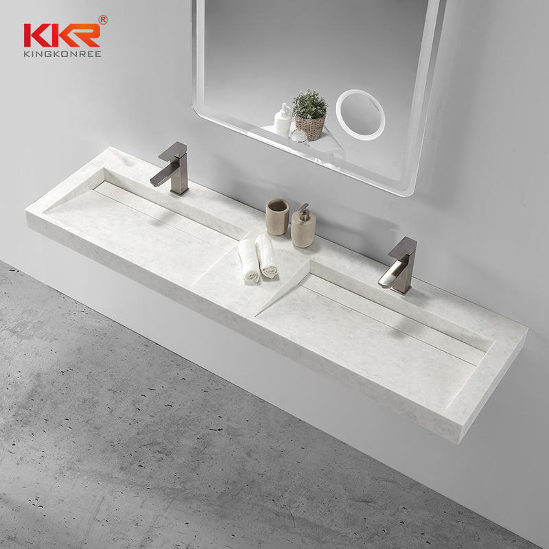 Double Sink Solid Surface Small Slope wall hung basin