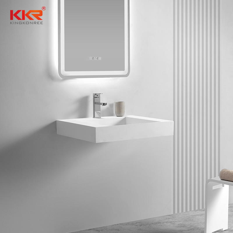 Hot Sales Fashion Design Small Slope Solid Surface Wall Hung Basin in Eurompe Market