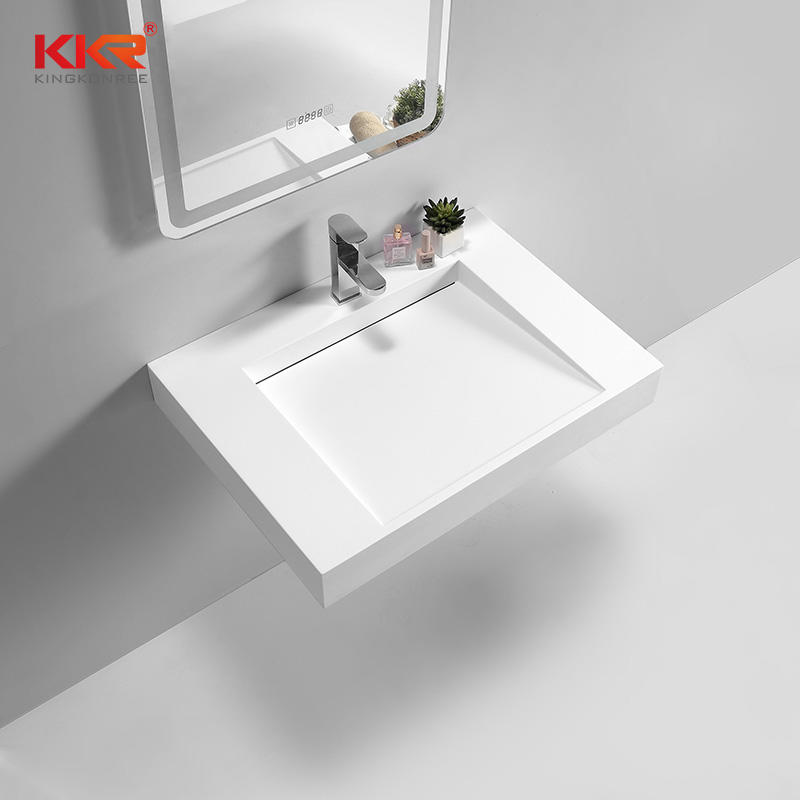Modern Design Artificial Marble Solid Surface Square Wall Hung Wash Basin