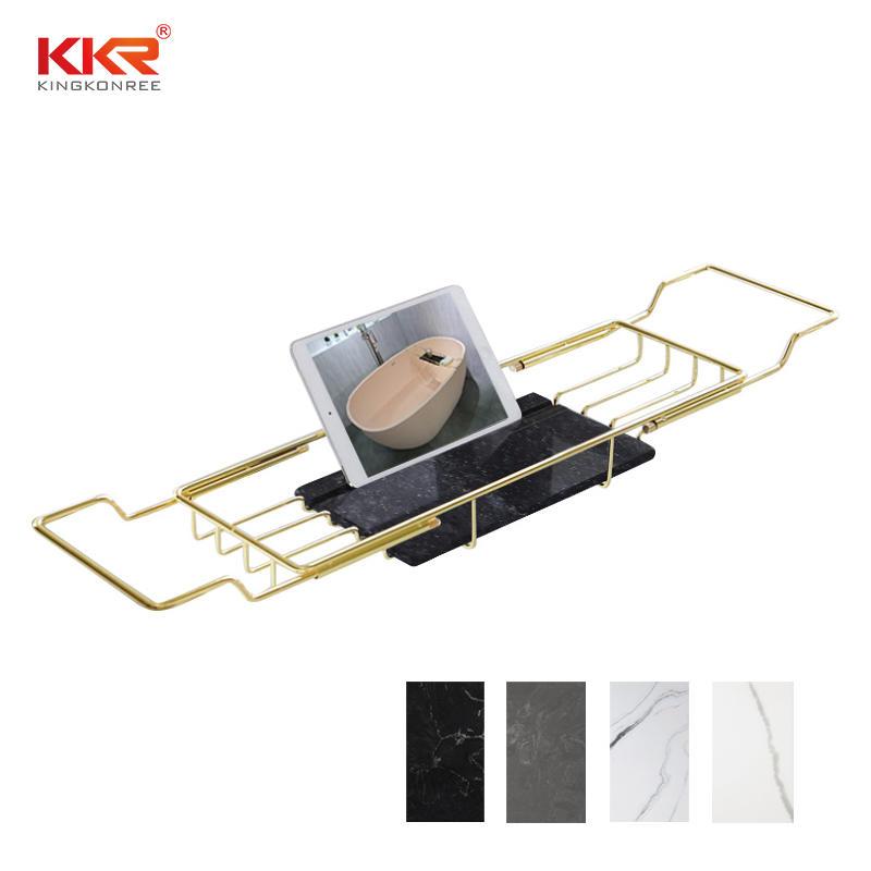 Bathroom Shelf Rack Golden Metal Holder Bathtub Shelves