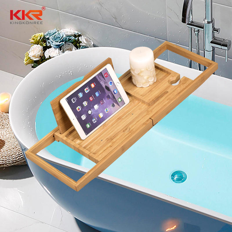 Bamboo Bathtub Frame Retractable Bathroom Rack