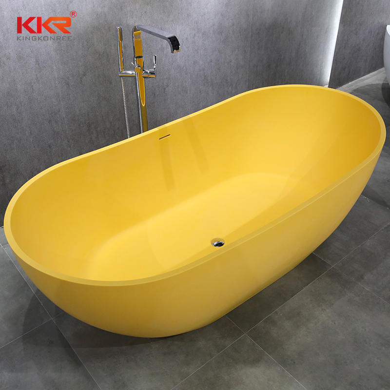 Elegant Composite Resin Stone Solid Surface Yellow Bathtub