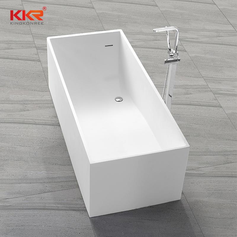 Rectangular Shape White Acrylic Stone Solid Surface Bathtub