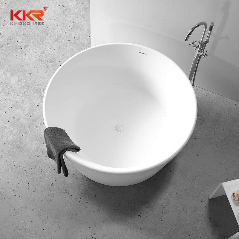 Modern White Freestanding Round Solid Surface Bathtub