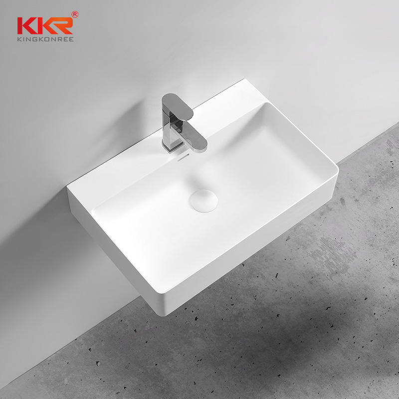 Thin Edge Solid Surface Modern Stone Wall Hang Wash basin