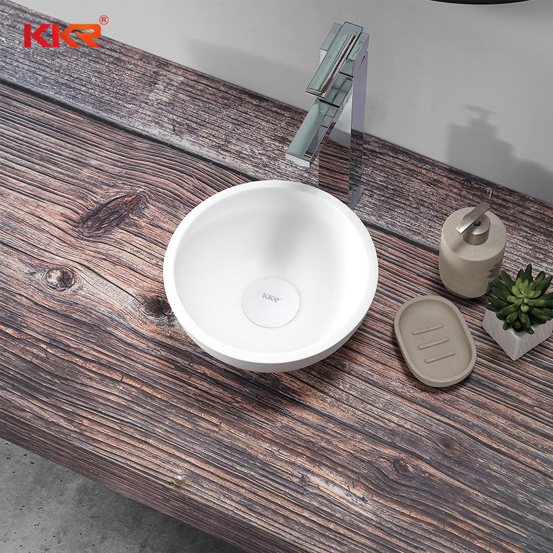 Round Small Size White Solid Surface Wash Basin KKR-1515-3