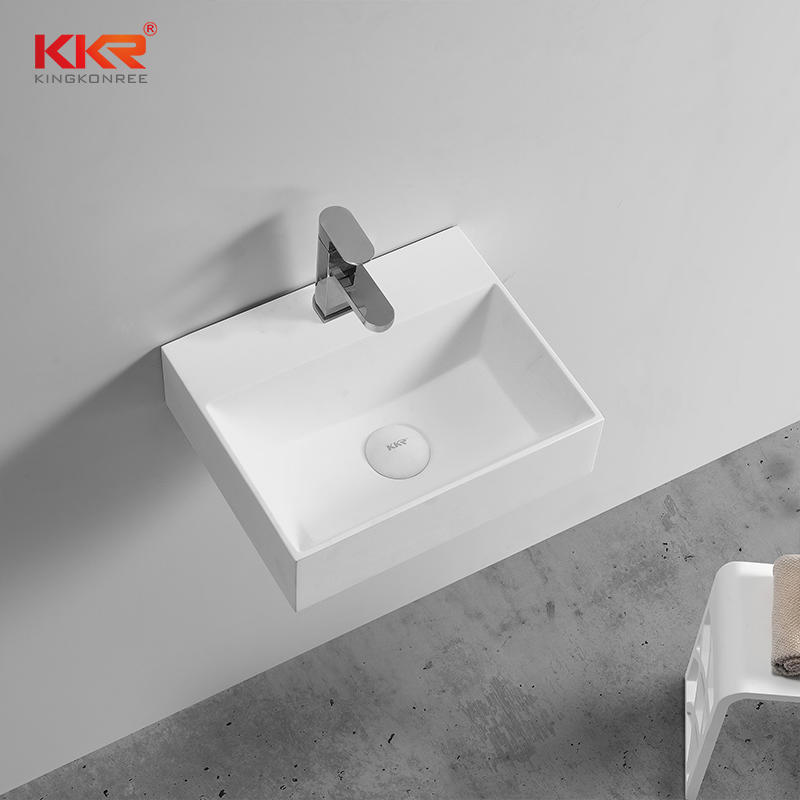 Thin Edge Acrylic Solid Surface Modern Stone Wall Hung Wash Basin