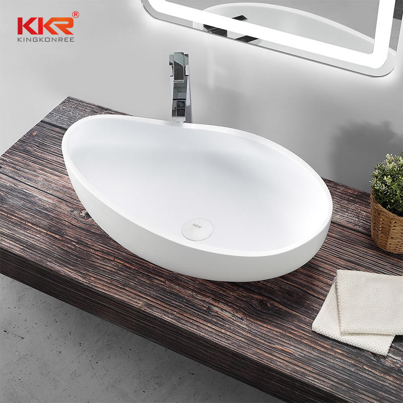 New Launch Special Design White Solid Surface Above Counter Wash Basin