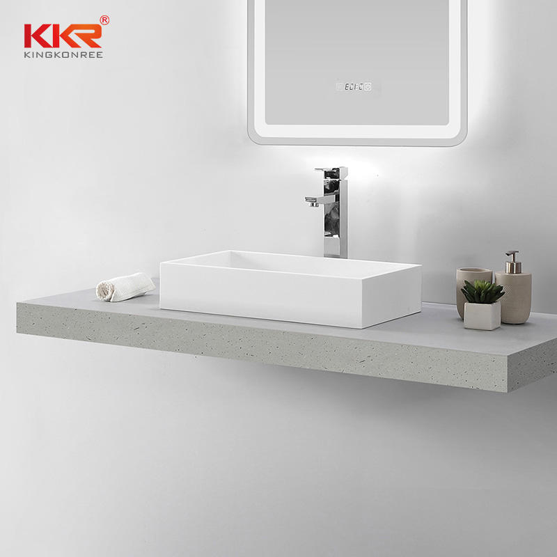 Hot Sales White Rectangle Acrylic Solid Surface Above Counter Wash Basin