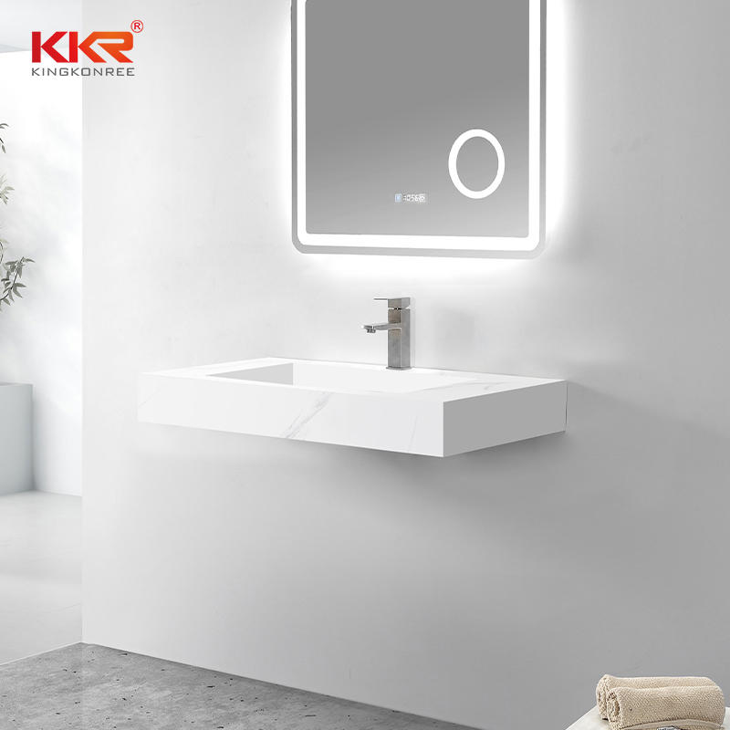 New Color Marble Pattern Solid Surface Wall Hung Basin