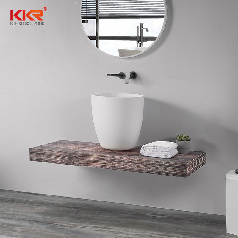 Thin Edge White Marble Round Basin Solid Surface Bathroom Sink