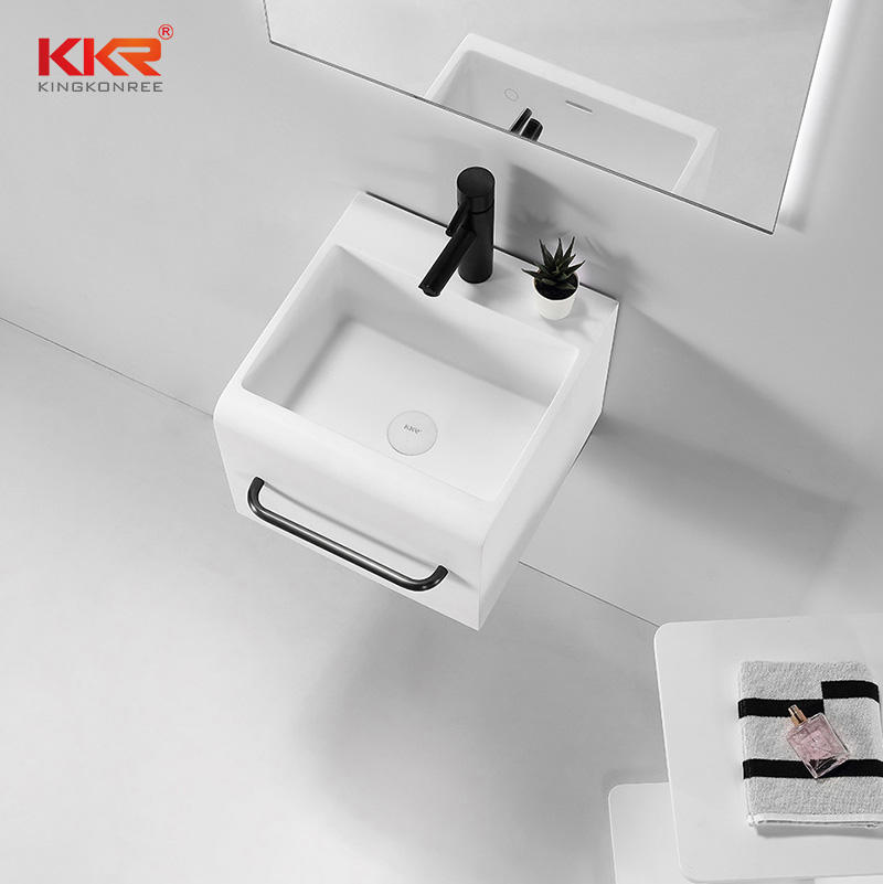 Samll Size Square Solid Surface Bathroom Wall Hung Washing Basin