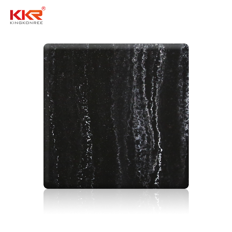 KKR Stone black veining pattern solid surface for early education-1