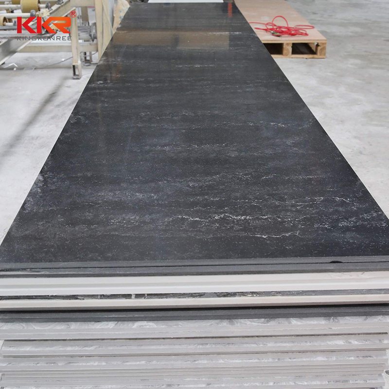 KKR Stone black veining pattern solid surface for early education-2