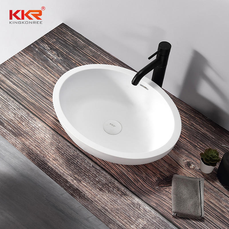 Oval White Marble Solid Surface Wash Basin Bathroom Sink With Overflow