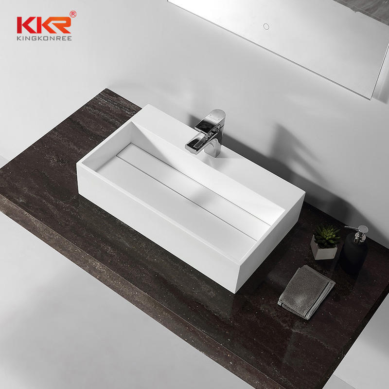 Hot Sales White Marble Rectangle Solid Surface Washbasins Above Counter Basin