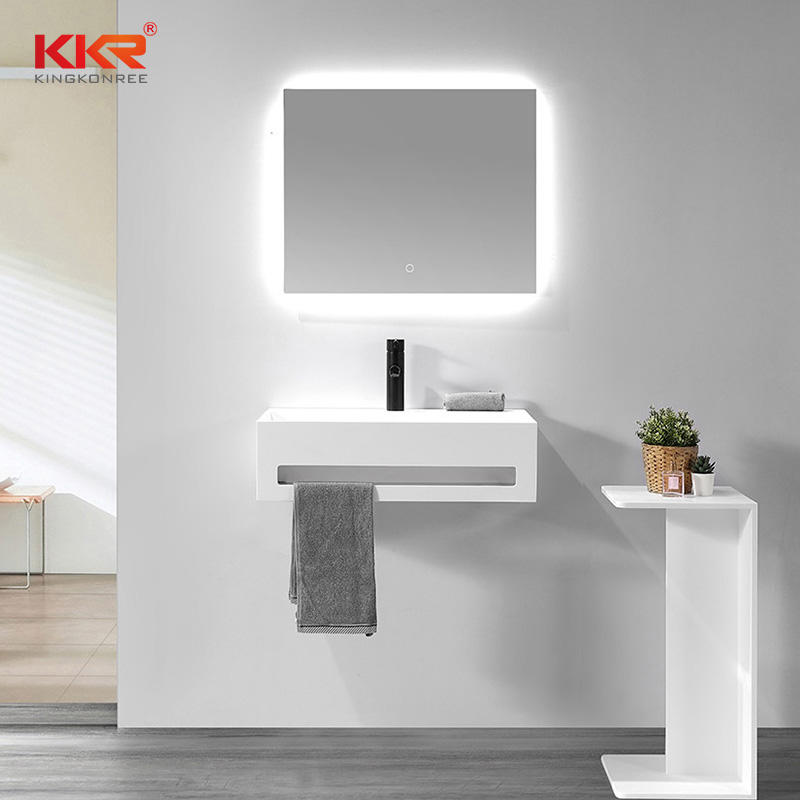 Artificial Marble White Solid Surface Bathroom Sink Stone Washbasins With Towel Rail