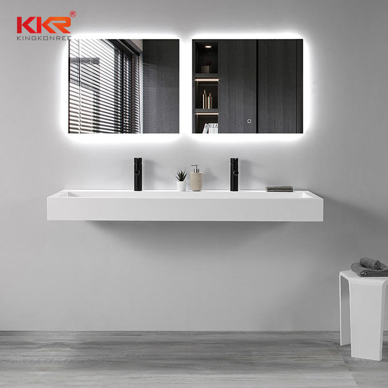 Wall Mounted Solid Surface Vanity Basin White Marble Bathroom Sink Hand Washbasin