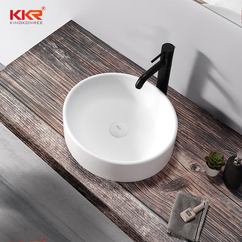 Newly Acrylic Solid Surface White Marble Above Counter Wash Basin Bathroom Sink KKR-1110
