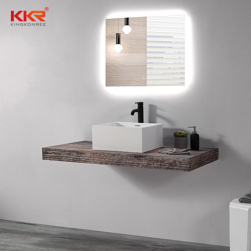 Square Solid Surface Artificial Stone Marble Bathroom Sink Washbasin KKR-1111