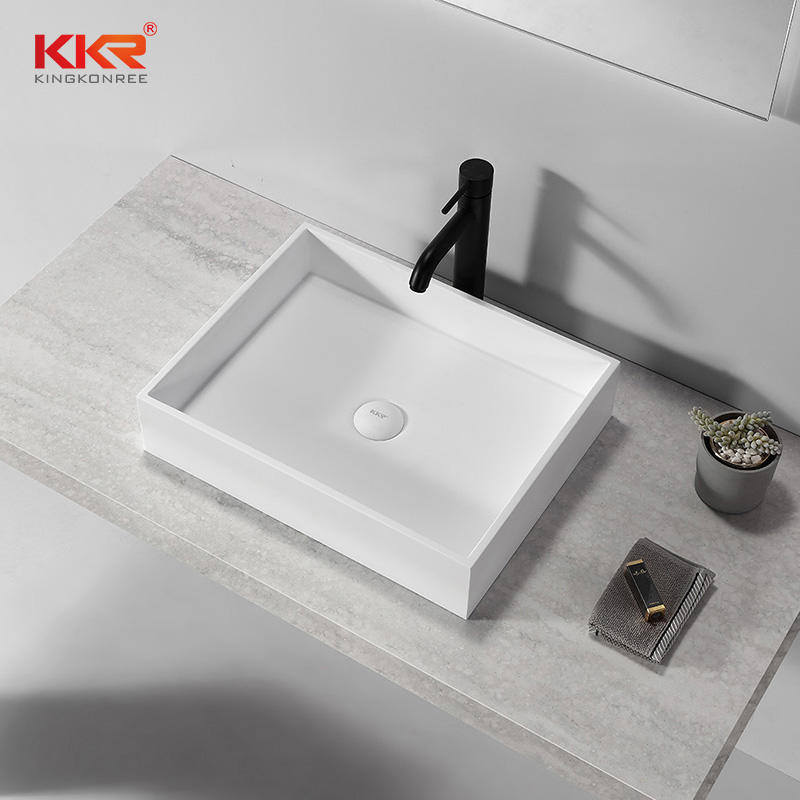Hot Selling Solid Surface Stone Wash Basin Bathroom Counter Basin KKR-1112