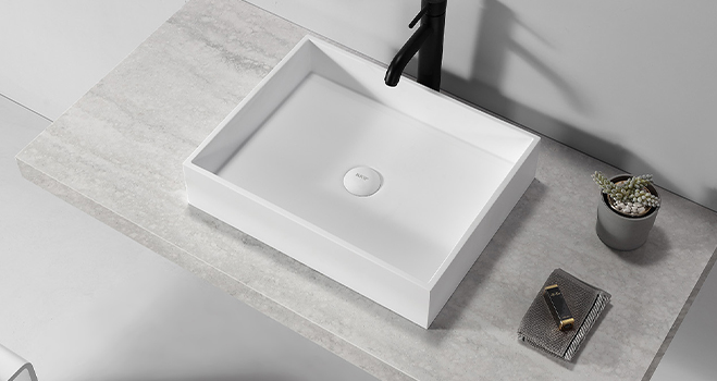 KKR Stone corian basin in good performance for school building-4