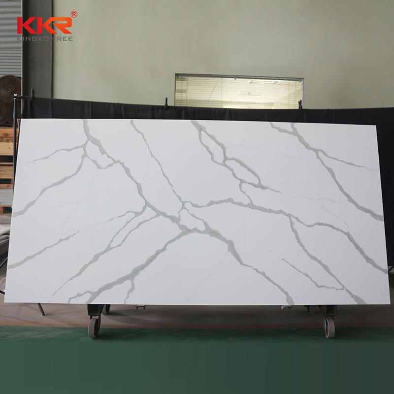 Carrara White Marble Solid Surface Acrylic Resin Stone Sheet KKR-M069