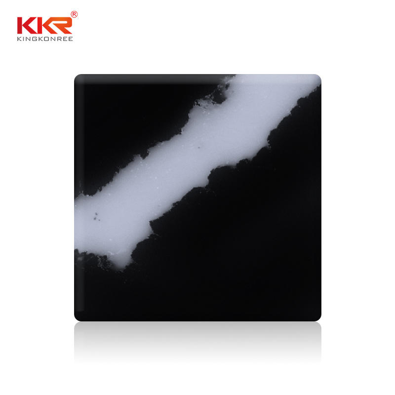 New Color Launch Artificial Marble Black Stone White Texture Solid Surface Sheets KKR-M071