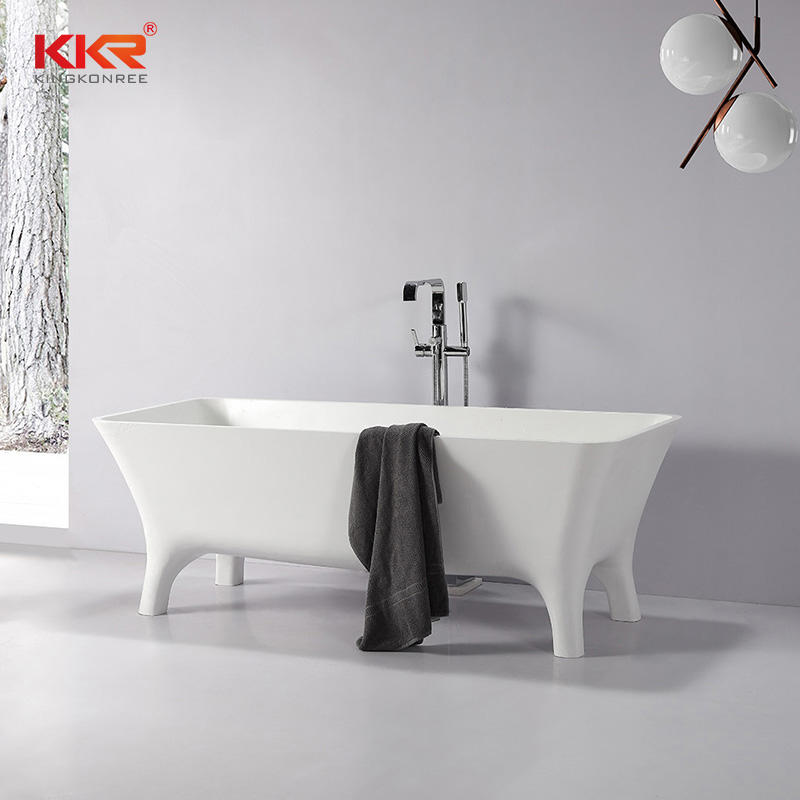 Newly Artificial Marble Stone Acrylic Solid Surface Bathtub With Four Legs KKR-B103
