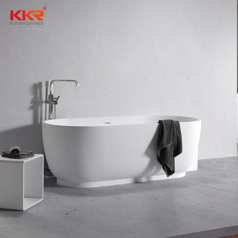 KKR High Quality Solid Surface Bathtub Standing Against The Wall For Hotel KKR-B106