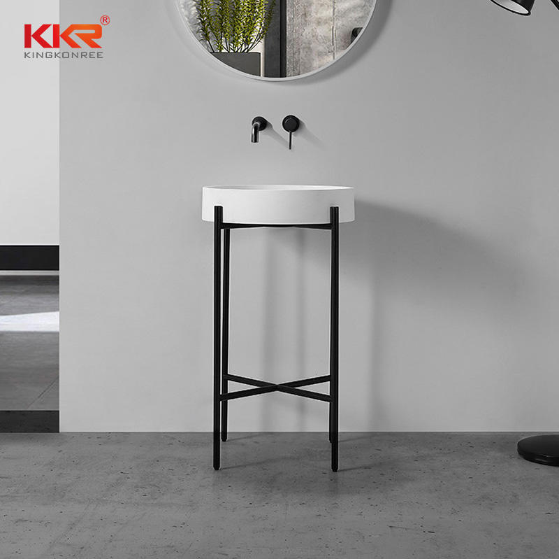 Nordic Style White Marble Arcylic Stone Solid Surface Above Counter Wash Basin KKR-1157