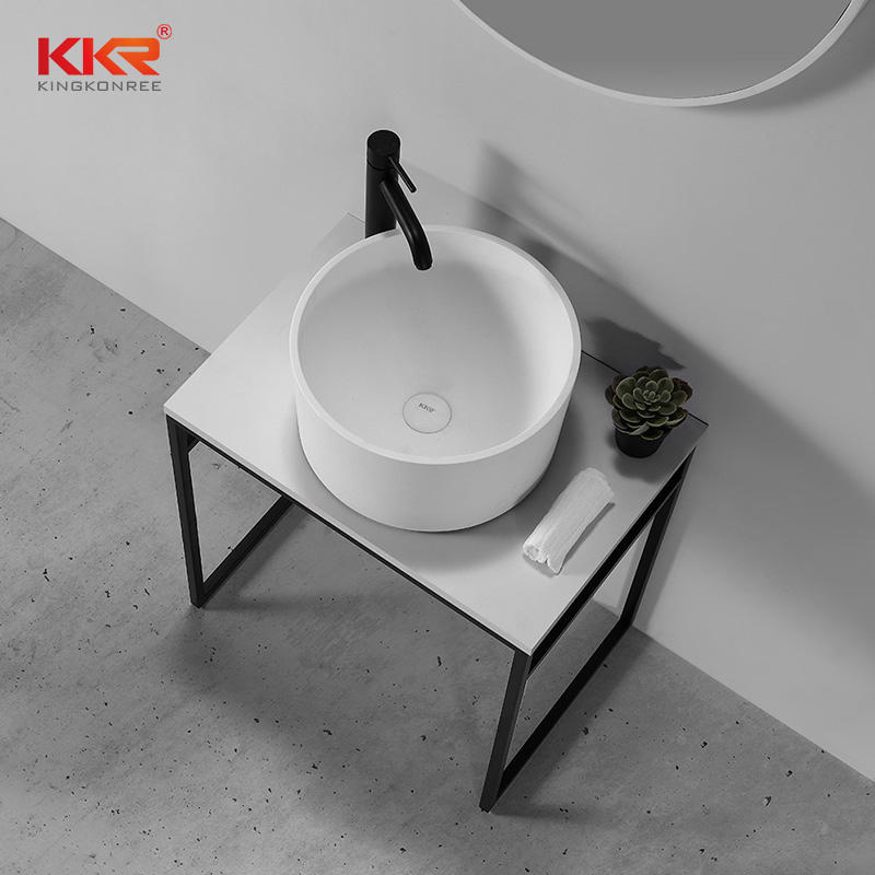 Modern Concise Style Round Solid Surface Bathroom Wash Basin KKR-1156