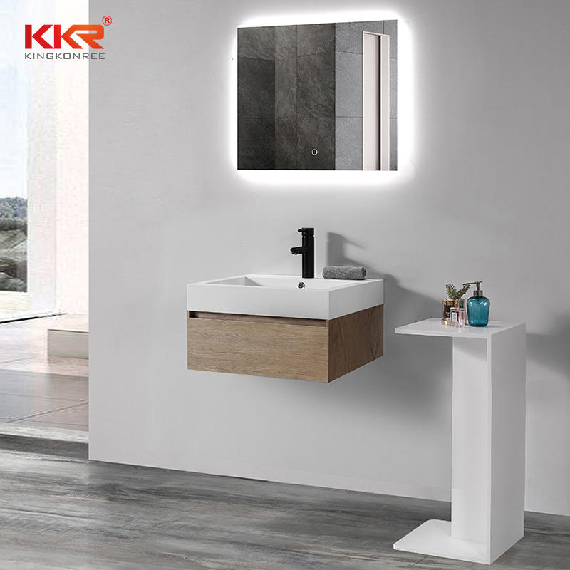 Polymarble Stone Acrylic Solid Surface Wall Hung Basin Cabinet Basin KKR-1604