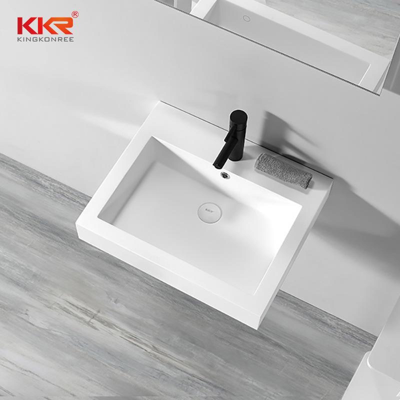 Polymarble Stone Acrylic Solid Surface Wall Hung Basin Cabinet Basin KKR-1604