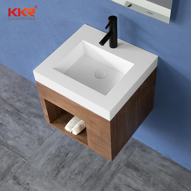 Square Small Size Bathroom Vanity Basin With Cabinet Set - Cabinet Basin 02