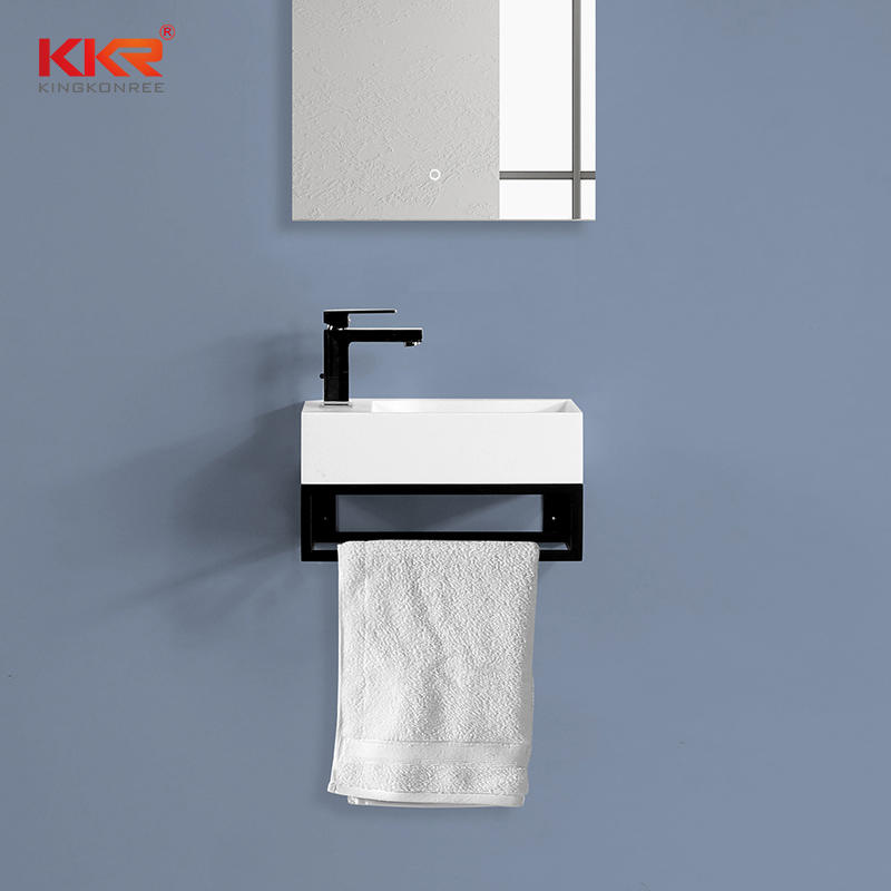 Hot Selling Solid Surface Wall Hung Basin With Stainless Stell Base for The Dutch Market KKR-1106